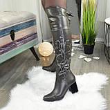 Ботфорты на каблуке серые со старазами. Зимние на меху., фото 5