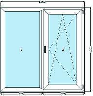 Окно металлопластиковое WDS 5S (1250 х 1350 мм)