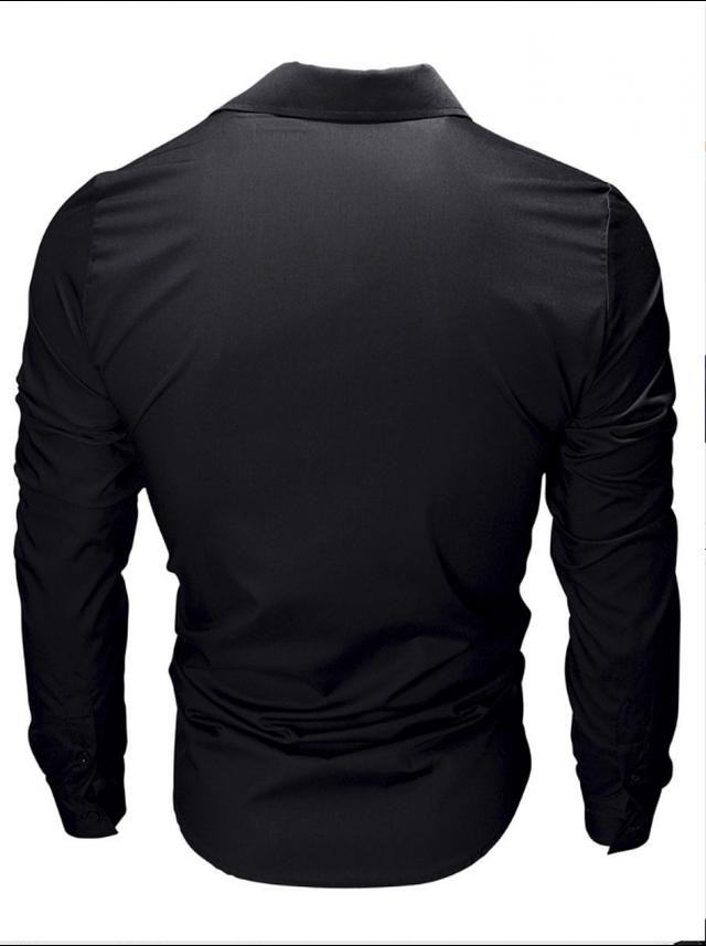 Приталенная рубашка мужская с длинным рукавом однотонная