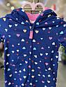 Хлопковый комбинезон Carter's для девочки с капюшоном синий в сердечки, фото 5