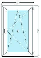Окно металлопластиковое WDS 5S  (700 х 1350 мм)