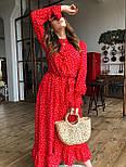 Жіночу червону сукню-міді в горошок з рюшами, фото 2