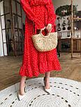 Жіночу червону сукню-міді в горошок з рюшами, фото 3