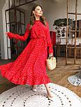Жіночу червону сукню-міді в горошок з рюшами, фото 5