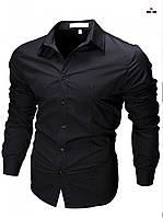 Приталенная рубашка мужская черная с длинным рукавом однотонная, фото 1