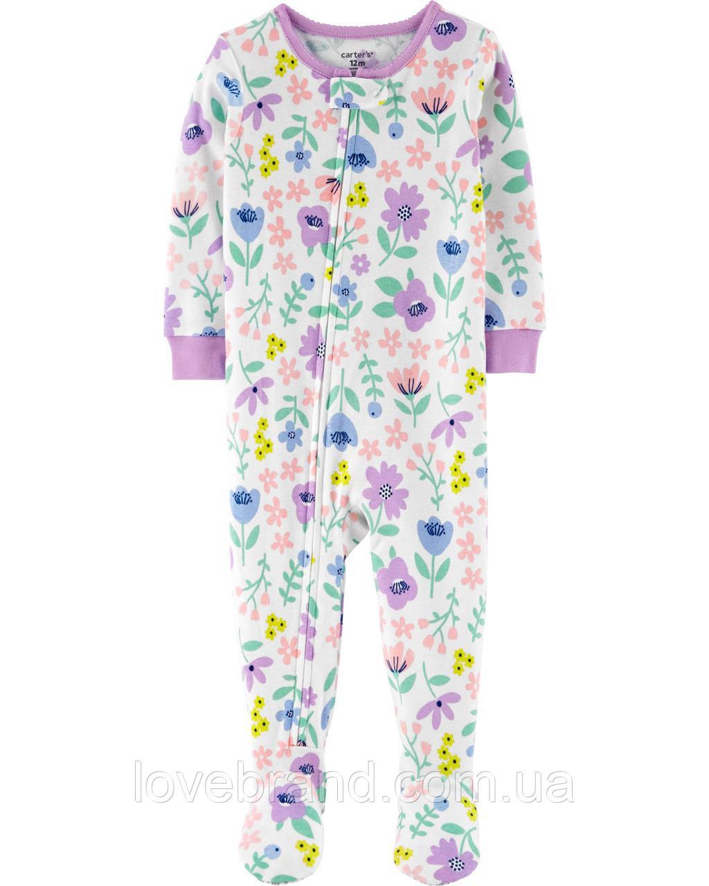 Хлопковый человечек с ножками Carter's для девочки Цветочки