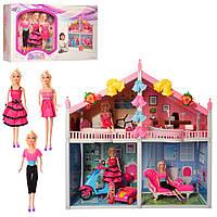 Двухэтажный кукольный домик Bellina 66924с куклами и мебелью