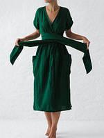 Сукня жіноча з льону - фуксія, соковита олива, яскраво жовтий, зелений , смарагд, фіолетовий кольори