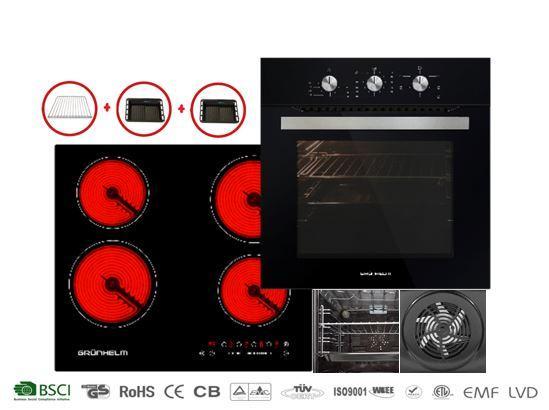 Комплект Grunhelm: Стеклокерамическая варочная поверхность GPC 723 B  и Духовой шкаф  GDG 251 B (электро)