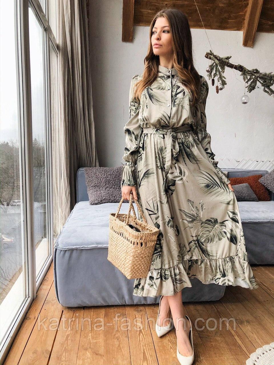 """Женское платье-миди с рюшами """"Листья"""""""