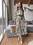 """Женское платье-миди с рюшами """"Листья"""", фото 5"""