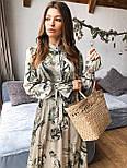 """Женское платье-миди с рюшами """"Листья"""", фото 6"""