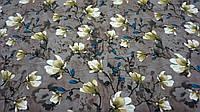 Нежная ткань летний креп светло коричневого цвета с цветочным принтом, фото 1