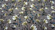 Нежная ткань летний креп светло коричневого цвета с цветочным принтом