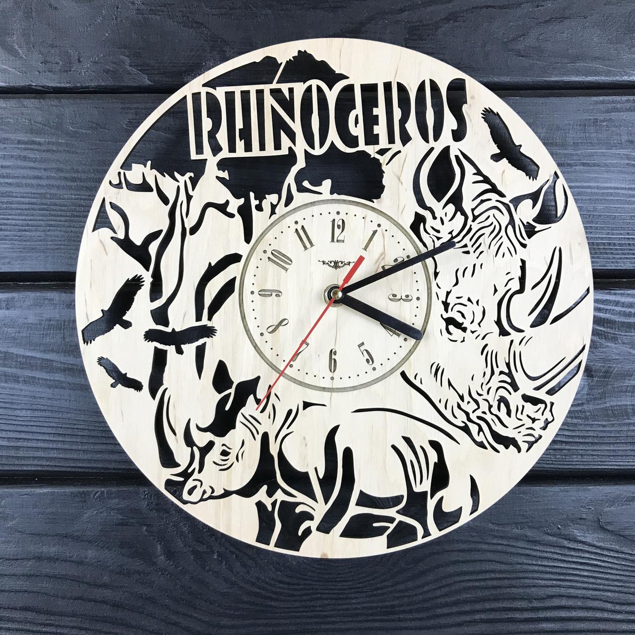 Необыкновенные настенные деревянные часы «Носорог»