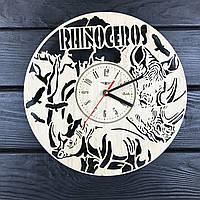 Необыкновенные настенные деревянные часы «Носорог», фото 1