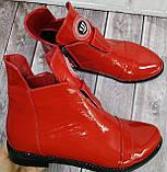 Ботинки демисезонные на низком ходу из натуральной лакированной кожи от производителя модель НИ1243-2, фото 3