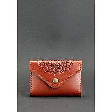 Кожаный кард-кейс 3.0 светло-коричневый с мандалой