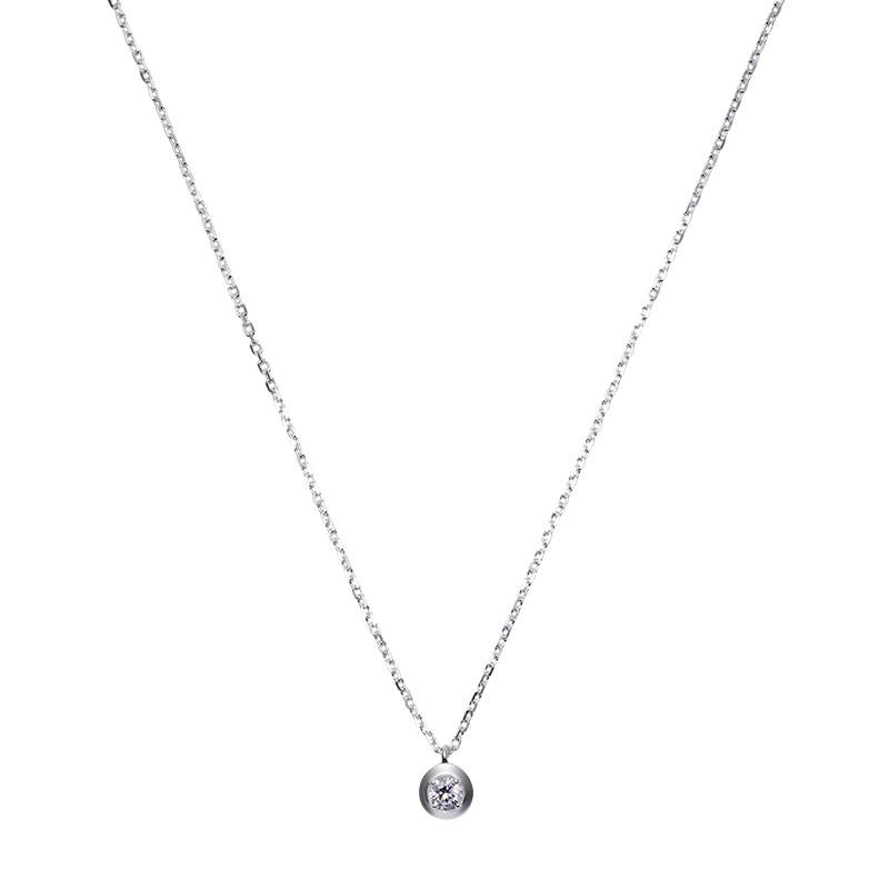 Срібна ланцюжок - кольє з маленьким камінчиком