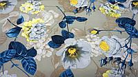 Нежная ткань летний креп серо-золотистого цвета с цветочным принтом