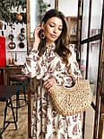 Женское платье с растительным узором листья и рюшами, фото 6