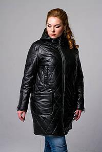 Демисезонная кожаная женская куртка с капюшоном, размеры 46-54