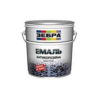 Краска эмаль антикорроз коричневая Зебра 3 в 1 (0,75л)