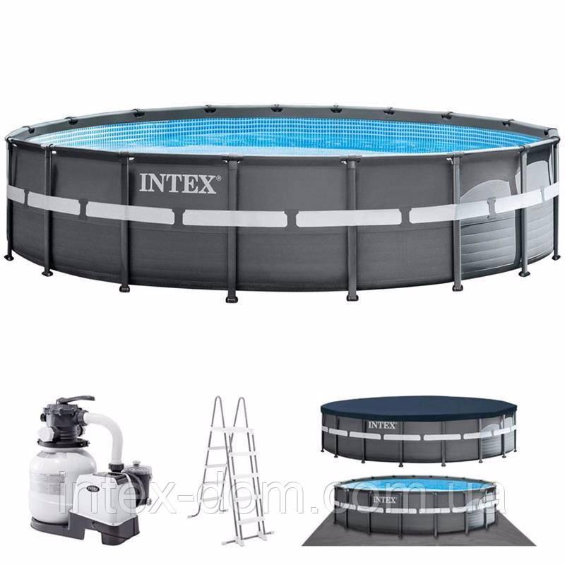 Каркасный бассейн Intex 26334, (610 х 122 см) (Песочный фильтр-насос 6 000 л/ч, лестница, тент, подстилка)