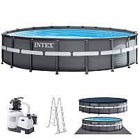 Каркасный бассейн Intex 26330, (549 x 132 см) (Песочный фильтр-насос 6 000 л/ч, лестница, тент, подстилка), фото 1