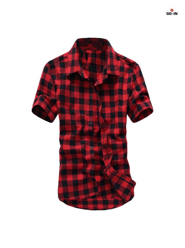 Чоловіча сорочка в клітку червона з коротким рукавом річна