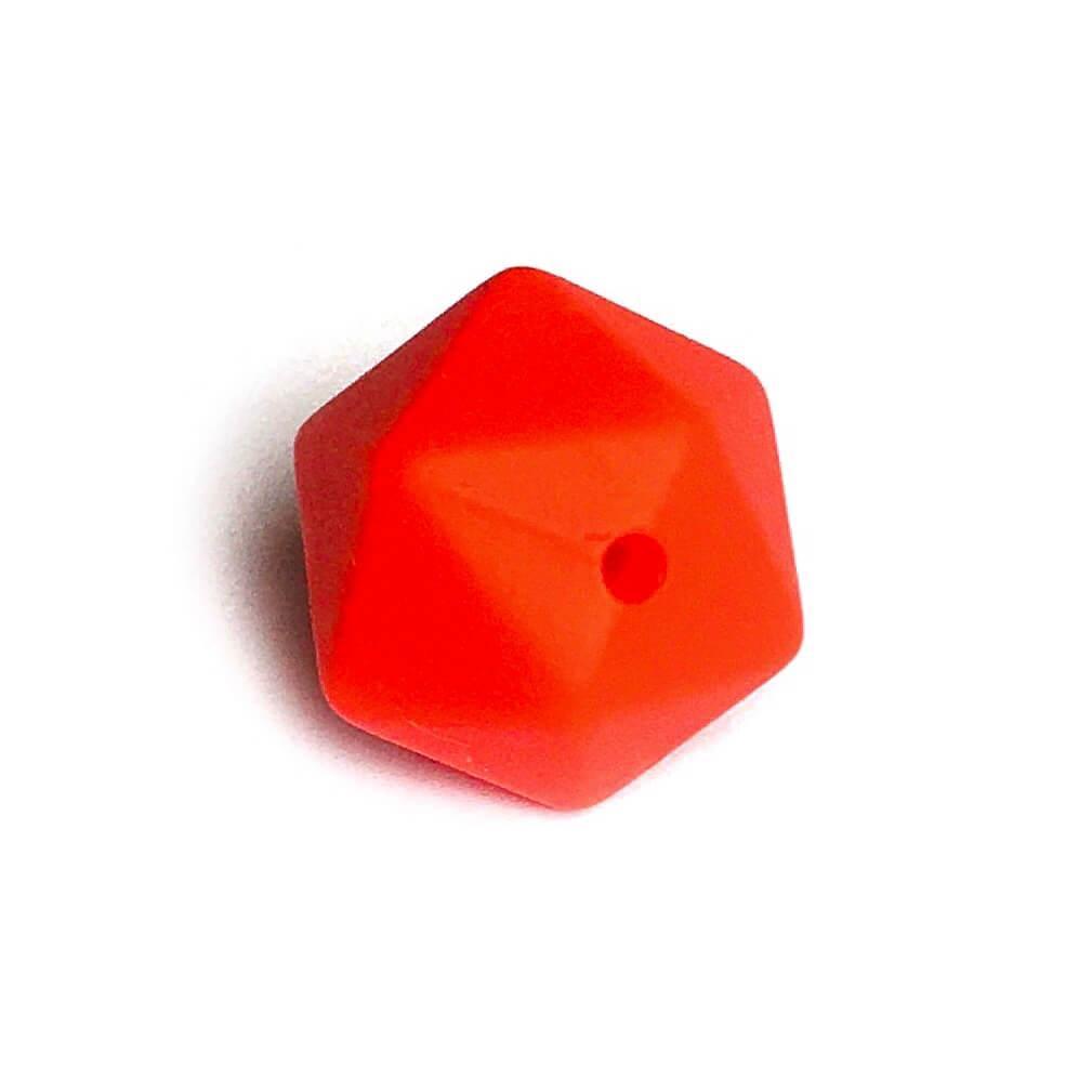 Середній ікосаедр (червоний-2й) 17мм, силіконові намистини