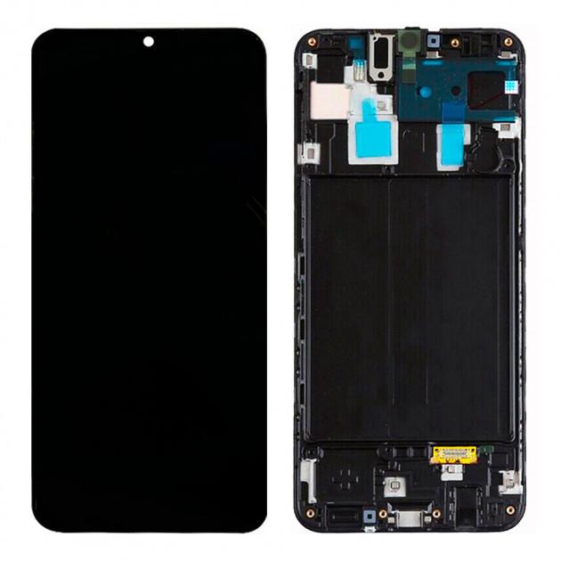 Дисплей модуль для Samsung A305 Galaxy A30 в зборі з тачскріном, з рамкою, чорний, Original (PRC), original glass