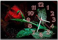 Романтичные черные часы на стену для декора интерьера ReD Роза 30х45 см