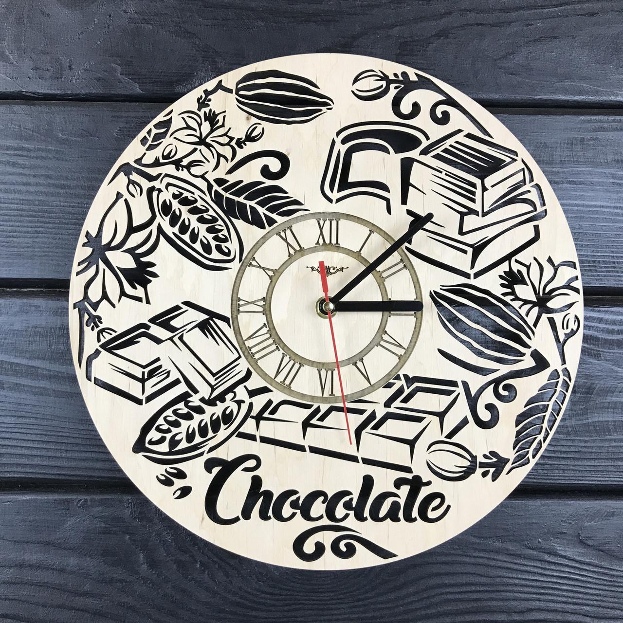 Концептуальные настенные часы из дерева «Шоколад»