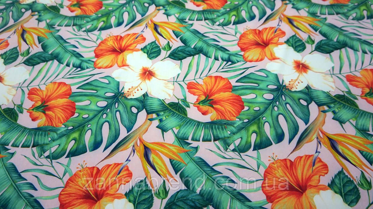 Ткань супер-софт персикового цвета принт джунгли