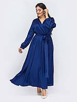 Вечернее платье синее  макси длинное в пол 48-50 52-54 56-58 60-62+