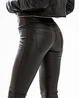 Лосины женские экокожа черные №975 с карманами