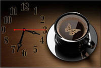 Красивые коричневые часы на стену для кухни ReD Кофе 30х45 см