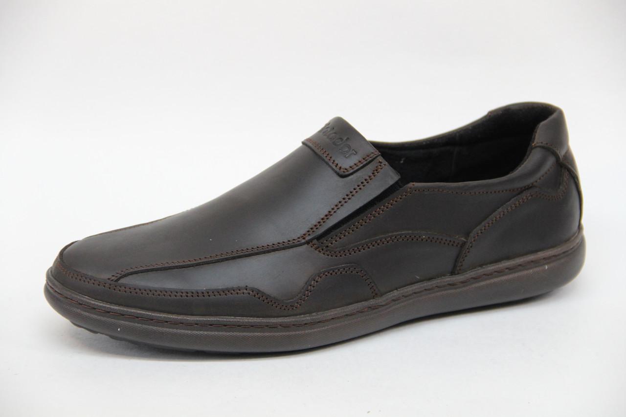 Мужские кожаные туфли из натуральной кожи на резинках коричневого цвета Matador 5620 к.кр