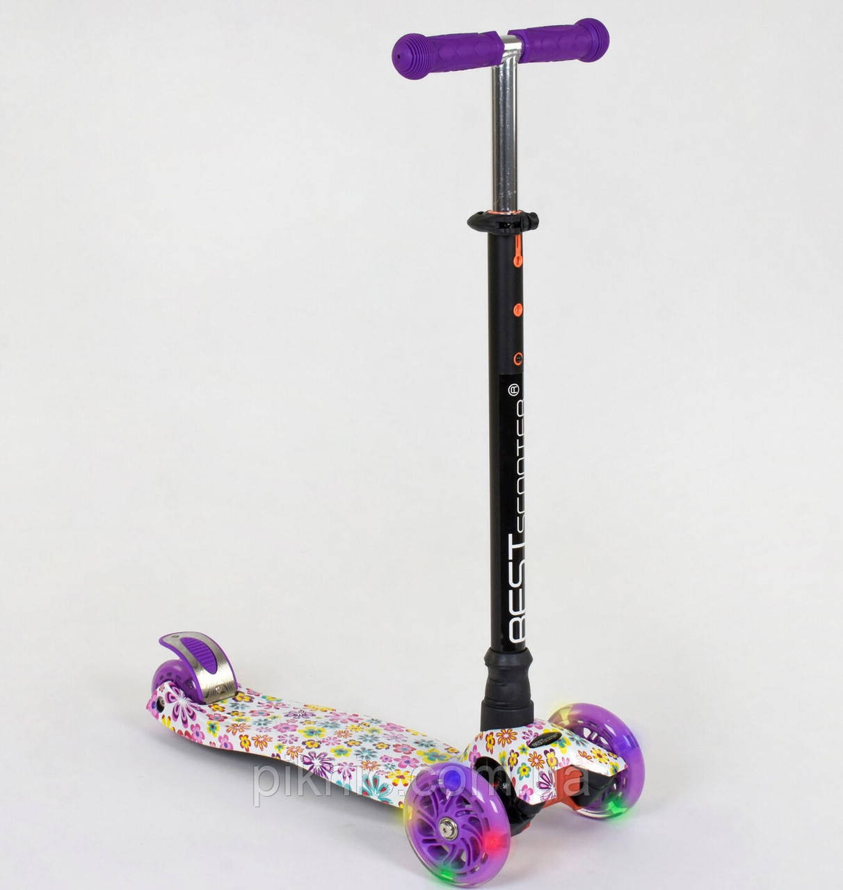 Детский самокат Цветок для девочек 3-6 лет, MAXI, 3 колеса свет, PU, трубка руля алюминиевая. Фиолетовый