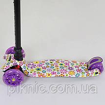 Детский самокат Цветок для девочек 3-6 лет, MAXI, 3 колеса свет, PU, трубка руля алюминиевая. Фиолетовый, фото 3