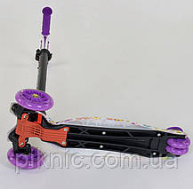 Детский самокат Цветок для девочек 3-6 лет, MAXI, 3 колеса свет, PU, трубка руля алюминиевая. Фиолетовый, фото 2