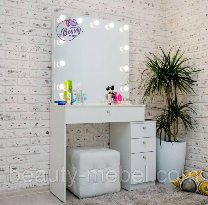Стол для визажиста с гримерным зеркалом с лампами и ящиками, цвет - белый