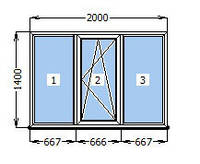 Окно металлопластиковое WDS 6S (2000 х 1400 мм)