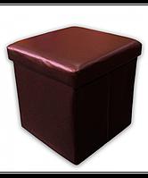 Раскладной кожаный пуфик коричневый