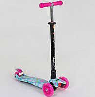 Детский самокат Цветок для девочек 3-6 лет, MAXI, 3 колеса свет, PU, трубка руля алюминиевая. Бирюза