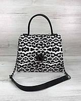 Сумка-портфель-саквояж для бізнес-леді у 4-х кольорах. Леопард.