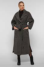 Пальто женское  свободного стиля Алеся серое