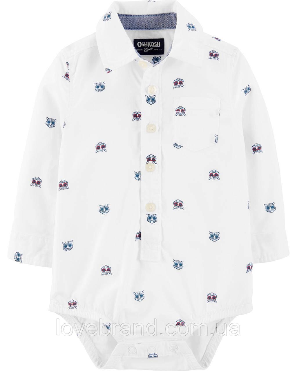 Боди-рубашка для мальчика OshKosh Тигр белая 12 мес/72-78 см