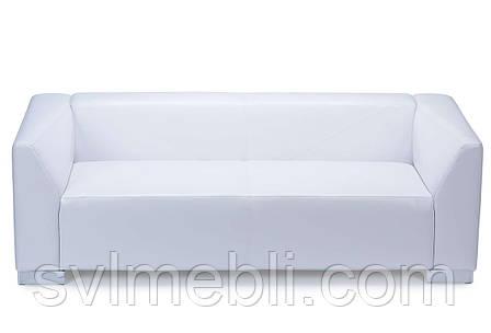 Диван Кристал нераскладной белая экокожа глянец, фото 2